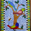 "Commission.  Approx. 24""X30""  Stained glass, glass globs, millefiore.  Tried to make mosaic based on quilt style."