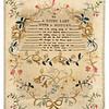 Antique cross-stitch sampler made by Frances Ann Tweedy