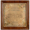 Antique cross-stitch sampler made by Priscilla Crowe