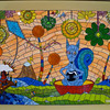 """The Squirrel with Kaleidoscope Eyes""  19""X27""   In a bowl on a river by tangerine trees, a squirrel eating a marshmallow pie get kaleidoscope eyes upon seeing a psychedelic acorn.  Nearby is a girl with her head in a cloud and the sun in her eyes on a bridge by a mountain flying a kite that looks like a diamond amidst flocking horsepeople in a marmalade sky.  Flowers of yellow and green tower over their heads while a newspaper taxi waits on the shore.  Inspired by misheard lyrics.  Stained glass, ceramic, bicycle reflectors, beads, ball chain, wire, mirror, glass fusings, millefiore.  (Psychedelic acorn made by Shauna Hullender - etsy)."