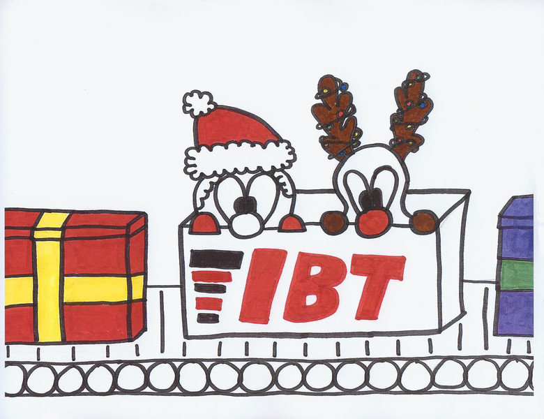 """The winner in the older division of IBT's Twenty-sixth Christmas Card Contest is Lauren Martinez, 12 years old, with her """"Conveyor Present"""" contest entry (on cover).  Lauren is the daughter of Rick and Veronica Martinez.  Rick is an outside sales representative at IBT's San Antonio, TX location."""