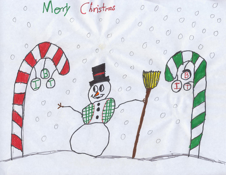 """Elijah Pouppirt, 10 years old, is the winner in the younger division with his """"Snowman and Candy Canes"""" drawing (inside).  Elijah is the grandson of Scott and Pam Kirkpatrick.  Scott is the Materials Manager at IBT's Corporate Headquarters."""