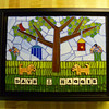 """6"""" X 8"""", stained glass.  Dog tiles and letter tiles made by Mary Dixon (etsy), ball chain, millifiore."""