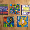 """A group of larger art cards.  4"""" square"""