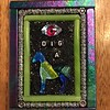 "Fused glass, Swarovski eye, letter beads, metal beads, Glam Grout.  3"" X 4"""