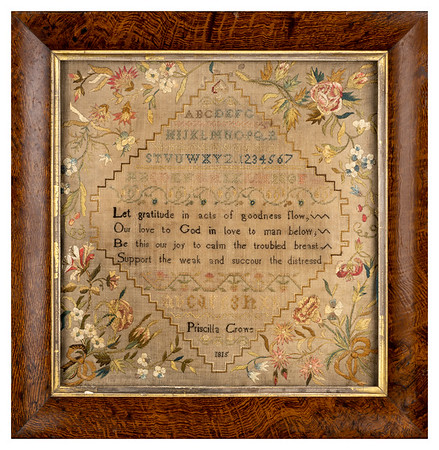 Antique cross-stitch sampler made by Priscilla Crowe