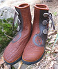 "Tobacco Buffalo Three Button Moccasin, Chocolate Custom Button Trim, Burnt Cork Top Welt, Natural Antler Sidecut Buttons, Thin Cushi Midsole, Vibram Soling<br /> These belong to a member of the incredible Fruit Tree Tour folks...<br />  <a href=""http://www.commonvision.org"">http://www.commonvision.org</a>"