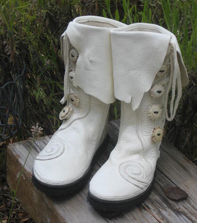 Suil's White Buffalo Moccasins,Custom Spiral Trim, Natural Edge Flap, White Antler Crown Buttons, Cushi Midsole, Olivia Vibram Soling.