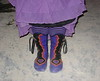 "Yep, those are my boots... it's a purple heart thing... having their debut on the playa for Burning Man 2007.  A little bit of decomposed fish excrement never hurt any one - that is unless you don't wash it off!  Good thing our boots are washable!<br /> Five Button Purple Bullhide, Black Bullhide Button Trim Heart Cutout with Points and Curves, 1/8"" Gold Deerskin Underlay, 1/4"" Red Deerskin Underlay, Full Welt Black Deerskin, Copper QuickSilver Buttons, Abalone Shell Buttons, Thick Cushi Midsole, Spikeless Golf Vibram Soling -Whew!"