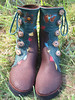 A Magical Hornings Hideout Moment - Animal Dancer Boots; Chocolate Buffalo HIde, with Forest Green Leaf Trim, Turquoise/Red/Gold/Black Deerskin Leaf Underlay, Turtle and Bear Fetish Insets with Amber and Turquoise stones, Medium Dye Antler Crown Buttons, Thick Cushi Midsole, Spikless Golf Vibram Soling.