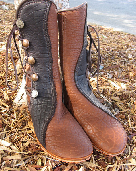 Five Button Moccasins, Tobacco Buffalo, Chocolate Natural Edge Button Trim, Chocolate Deerskin Full Welt, Conveyor Belt Soling, Personal Button Collection.