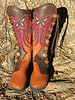 Butterfly Boots: Tobacco Buffalo, Chocolate Natural Edge Button Trim, Butterfly Cutwork Applique, Medium Dye Antler Crown Buttons, Chocolate Deerskin Full Welt, Platform Cushi Midsole, Spikeless Golf Vibram Soling
