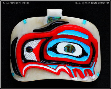 """AN EAGLE"" bone pendant,artist Terry Sherer."