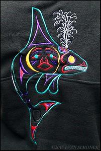 """FANCY EMBROIDERY"",the back of a jacket,Alaska,USA."