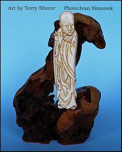 """MONK"",bone carving,artist Terry Sherer,Wrangell,Alaska,USA."