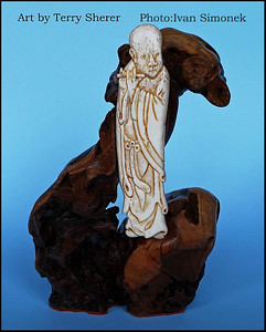 """MONK"",bone carving,artist Terry Sherer,Wrangell,Alaska,USA."