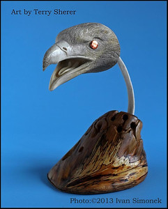 """EAGLE ART2"",bone carving,artist Terry Sherer,Wrangell,Alaska,USA."