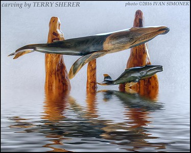 """WHALES  CARVING""."