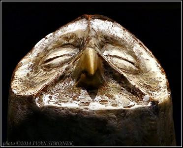 """""""SLEEPING OWL"""" sculpture,Ketchikan airport,Alaska,USA."""