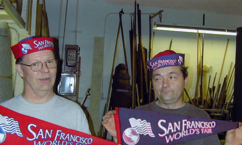 Ahhh, props...ya just never know...This was a project while working at History for Hire for a set of hats and banners.  The graphics guy(on the left) made the iron on transfers and I made the hats and banners.