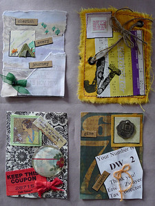 Scavenger Hunt 2(ticket, decorated inchie, bow, words, piece of fabric) swap 2013