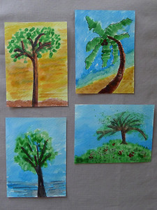 watercolor trees swap