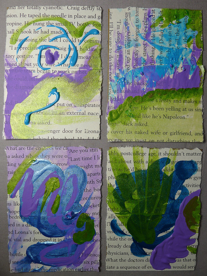 Blue, Green, Purple Book Pages swap 2013