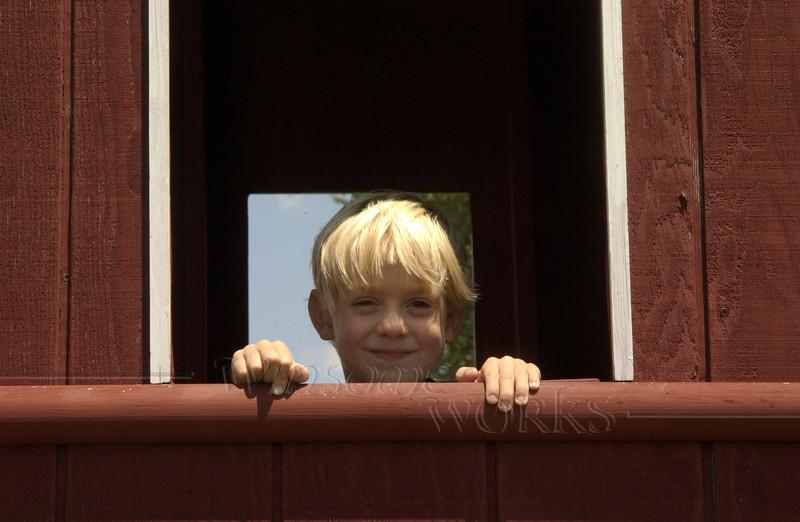 Logan in window at Kutztown Folk Festival