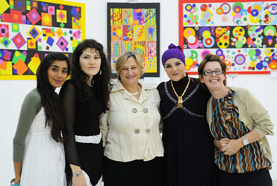 Art Department of Al Sahwa Schools.  Myra_ Roya _ Angela( Head of Department) - Amany_ Belinda