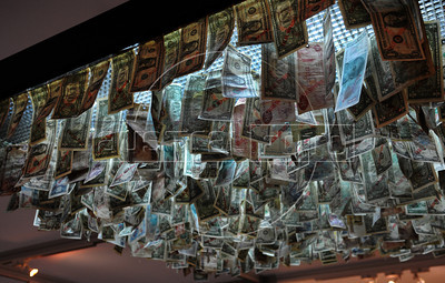 A art piece made with dollar bills are exhibited at ArtRio, International Contemporary Art Fair of Rio de Janeiro, Rio de Janeiro, Brazil, September 12, 2012. (Austral Foto/Renzo Gostoli)
