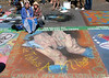 CHALK DRAWING AT 'I MADONARI' 2007.  ME WITH MY HAND MODEL.