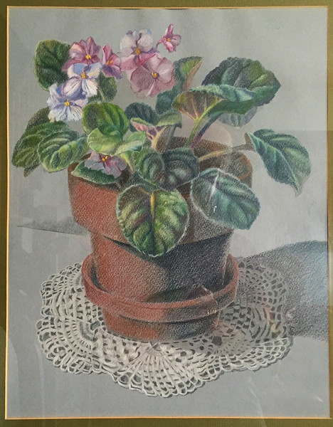 "This drawing of ""Violets"" was one of a series of floral images done for my siblings.  Prismacolor drawing. 1970s."