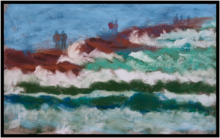 After visiting Jinx on the South Coast I did a quick pastel sketch of the waves at the jetty in Port Aransas. Windy day!  February, 2015.