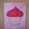 Fabric cupcake on canvas #2