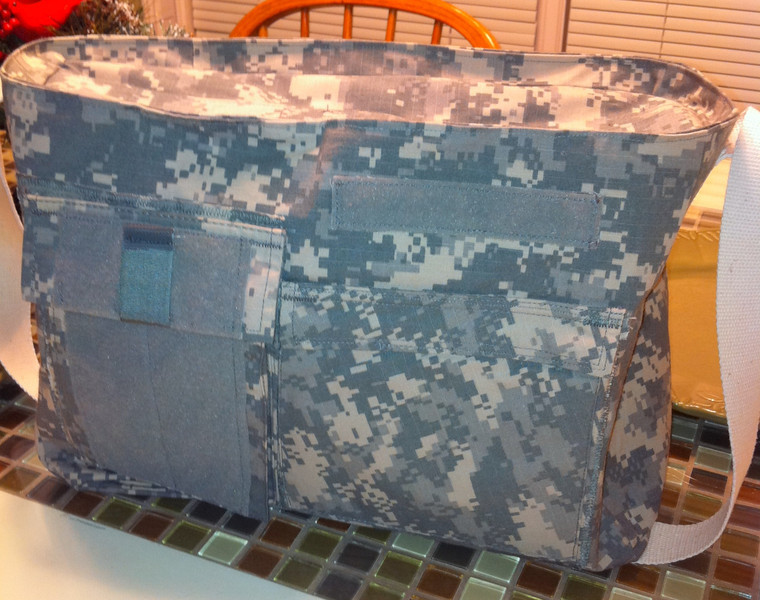 Diaper bag made from father's Army jacket.