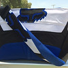 Fox diaper bag made from father's motocross pants= back view