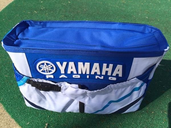 Yamaha diaper bag made from father's motocross pants.