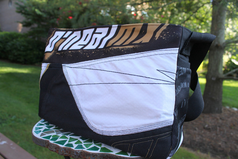 Motocross diaper bag made from father's pants- back view
