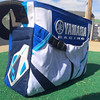 Yamaha diaper bag made from father's motocross pants- side view.