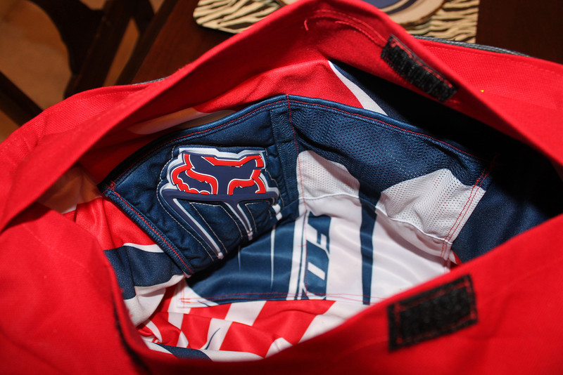 Motocross diaper bag lining- made from father's jersey