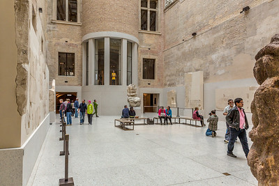 Interior of Neues Museum. Rough walls as a stylistic element remember the original status and the passing times - especially the sufferings of World War II.