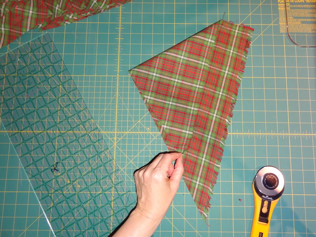 Align the cut edge of fabric.