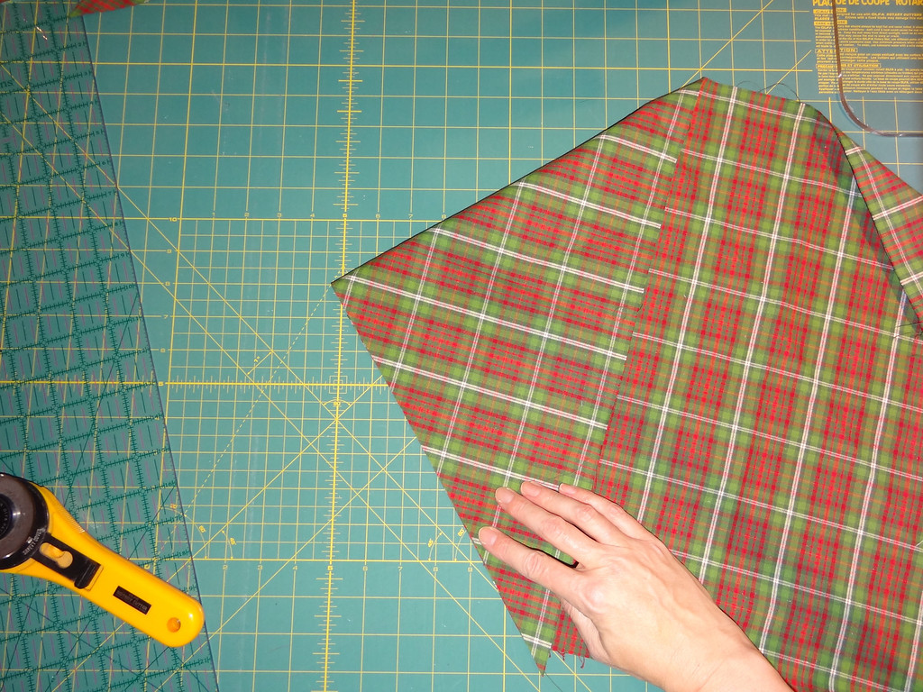 Smooth fabric and align raw cut-edges.