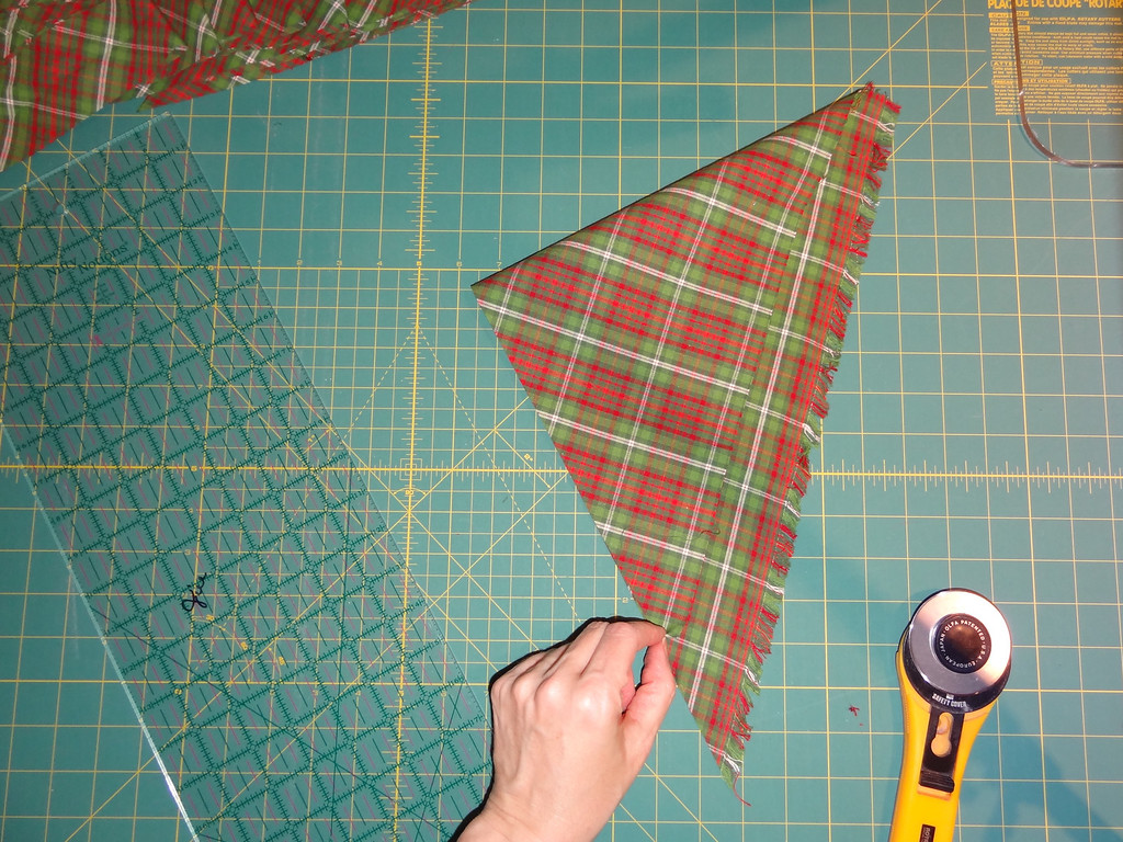 Yes, the triangle is getting small, but with bias strips you can use even these shorter lengths for all of your bias cuts.