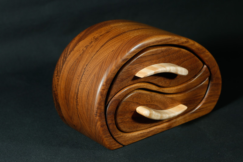 """Whale Play""  - Black Walnut with Curly Maple drawer pulls."