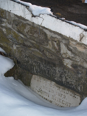 Builder's stone on ramp of Knecht's Bridge, Bucks County PA