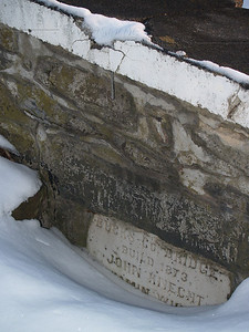 Builder's stone on ramp of Knecht's Bridge, Bucks County PA