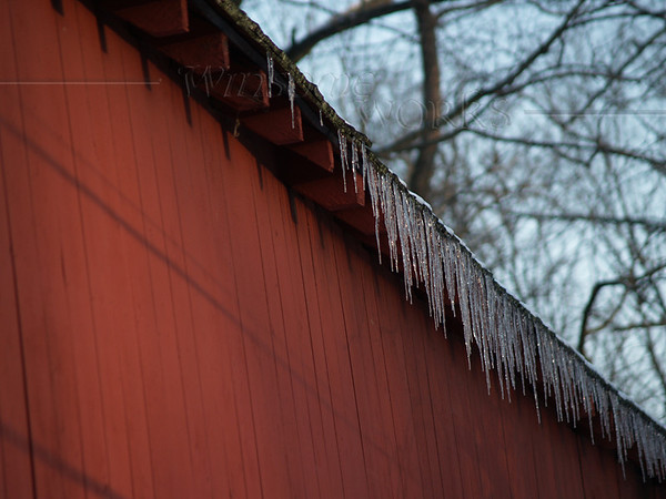 Icicles hanging from West side of Knecht's Bridge, Bucks County PA