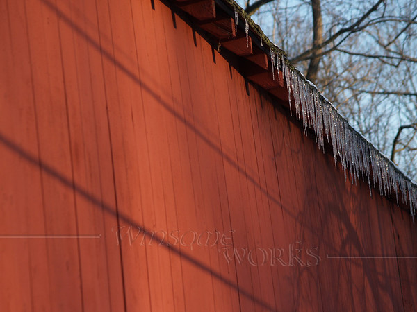 Icicles on West side of Knecht's Bridge, Bucks County PA