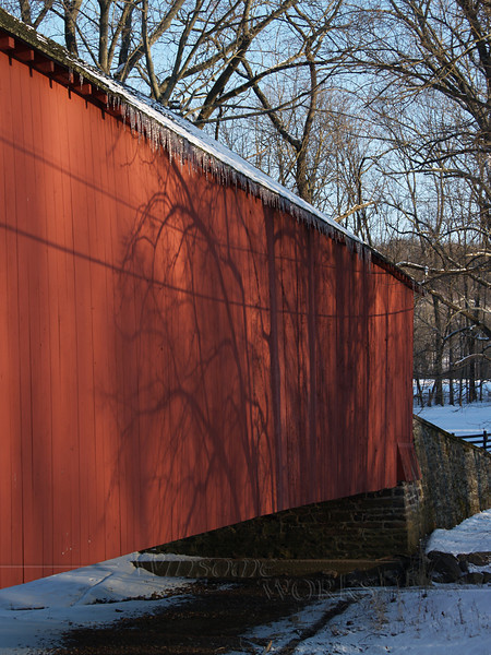 Knecht's Bridge, Bucks County PA with icicles on a snowy day (facing South)